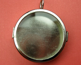 Large Glass Locket Empty Space Silver Pendant