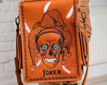 Men's vintage handmade messenger bag, Joker
