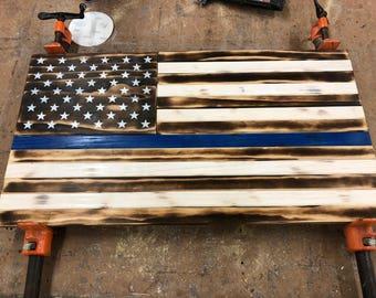"Handmade Pine American Flags 13""x25"""