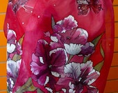 Hand Painted Silk Scarf. Red scarf with tulips good birthday gift.