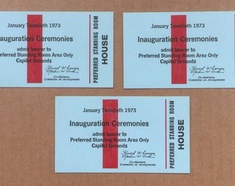 Three 1973 Inauguration Passes for House of Representatives