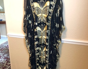 Silk embroidered kaftan one size fits all