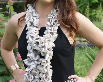 Ruffled Scarf Shades of Cream gray and tans Fashion Scarf