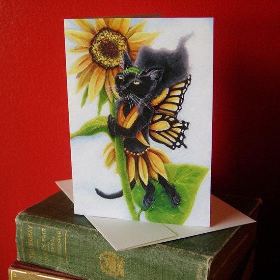 Black Cat Sunflower Fairy Greeting Card