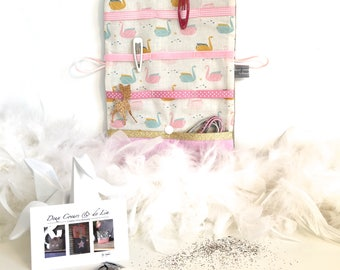Customizable hair pouch in linen and cotton fabric origami swans