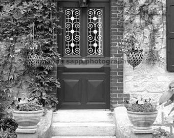 Giverny France door black and white photograph