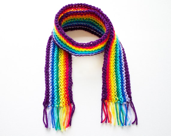 Purple Rainbow Pixie Scarf - Rainbow Scarf for a Child - Colourful Children's Rainbow Scarves