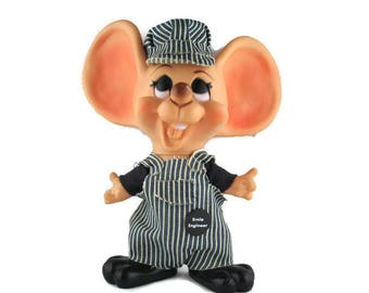 Ernie Engineer Vinyl Coin Bank/©Huron Products Co/Railroad Toy Mouse Savings Bank / Big Ear Mouse Coin Piggy Bank/ 1950s  Rodent Money Bank
