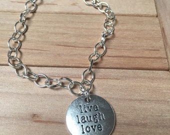 """Charm Bracelet With Silver Plated Chain 7"""" 7/8 length """"live laugh love"""""""