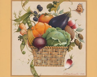 Vegetables harvest basket archival reprint
