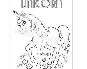 PRINTABLE: Personalized Unicorn and Rainbow Birthday Party Coloring Page