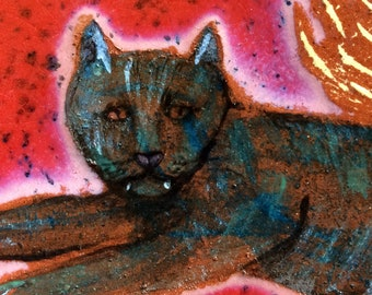 Hanging ceramic cat tile, bohemian decorative tile, pottery tile, wall art, wall decor, rustic home decor, handmade, cat art, unique gift