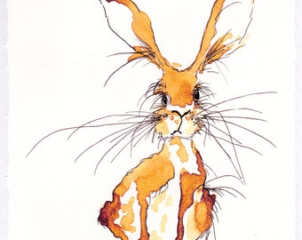 Cheeky Little One Signed Hare Print
