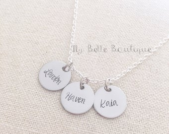 Hand Stamped Three Disc Necklace