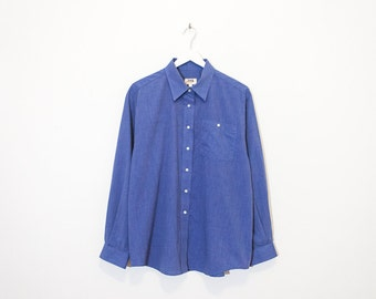 on sale - heather blue basic oxford / loose button-up shirt / size L