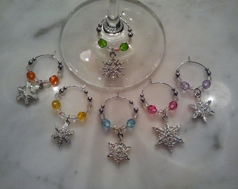 Snowflake Snowflakes Winter  Wine Charms