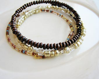 Gold & Brown Memory Wire Bangles, Wire Bracelets, Beaded Bangles, Beaded Bracelets, Minimalist Stacking Bracelets