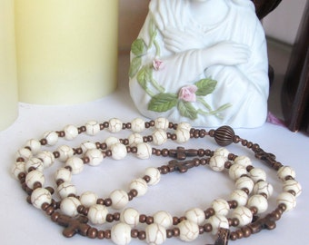 Howlite and Copper Catholic Rosary