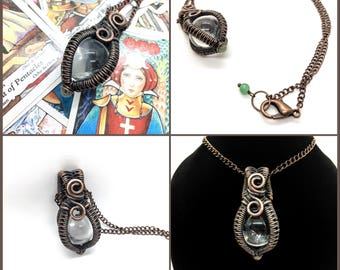 Wire Wrapped Quartz Orb with Aventurine Accents
