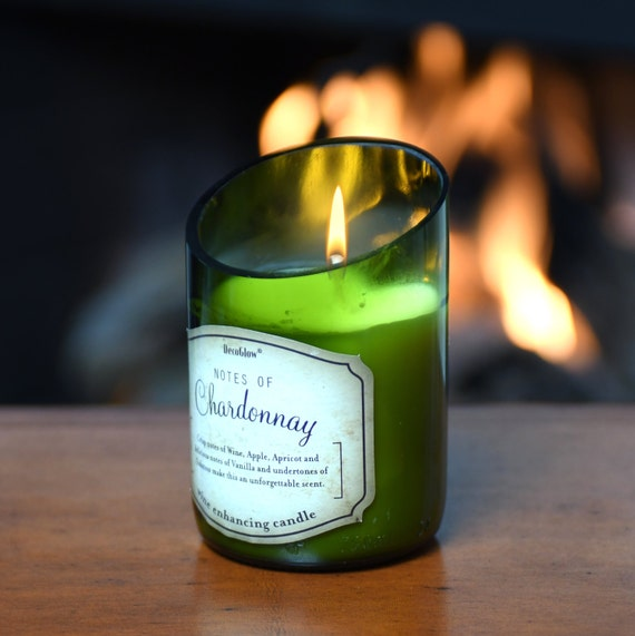 Wine Bottle Candle with Beautiful Scent of Chardonnay. Superb Value Wine Gift. Very Unique.