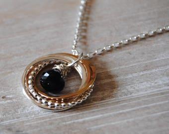 8 Ring Sapphire Necklace, September Birthday Gift, Sapphire Gemstone, 80th Birthday Necklace, 8 Rings Necklace, Blue Gemstone, Gift for Mom