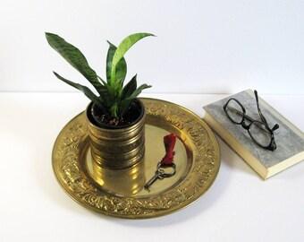 "12"" Vintage Round Brass Serving Tray - Embossed Brass Repousse Flower Design - Brass Home Decor - Polished Brass Barware - Brass Valet Tray"