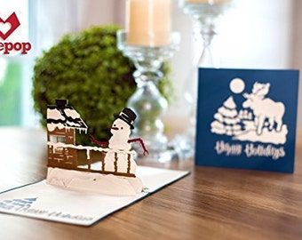 Winter Cabin Happy Holidays Pop-up Card, Winter Wonderland Greeting Card, Winter Wonderland Pop up Card, 3D Snowman Card, Popup Holiday Card