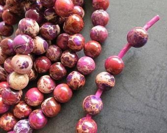 2mm Big Hole- Brownish Purple Sea Sediement 8mm round beads- 50pcs/Strand