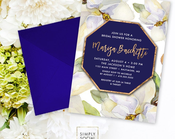 Magnolia Bridal Shower Invitation - Faux Gold Foil White Flowers and Navy Watercolor Floral Bridal Shower Invitation Printable