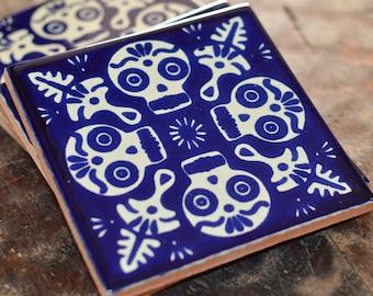 2~ TILE Talavera Mexican Tile Mosaic Day of the Dead / Tiles Clay Catrina