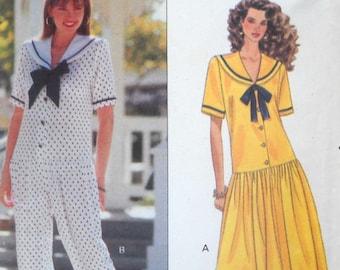 Butterick 5364 Misses Dress and Jumpsuit Pattern Sizes 14, 16 18, Factory Folded Uncut,  Vintage 1991, Sewing Pattern