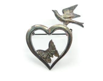 Vintage Heart Brooch, Dove, Butterfly, Silver Tone