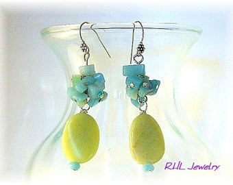 Yellow Earrings, Amazonite Earrings, Chakra Earrings, Yellow Jade Cha Cha Earrings - E0911-03