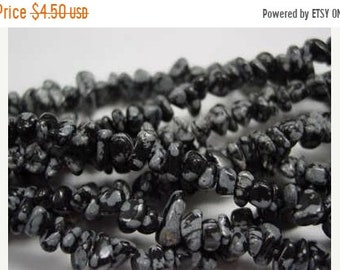 TAX Season Sale Snowflake Obsidian Chip Beads 36 Inch Strand