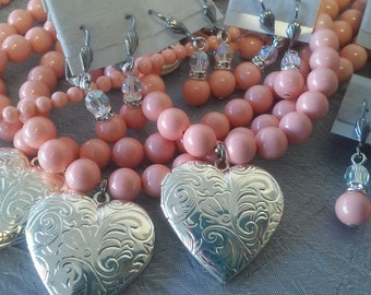Swarovski Coral Pink Pearl Bridesmaid (5) and Flower Girl (1) Necklace and Earrings Set