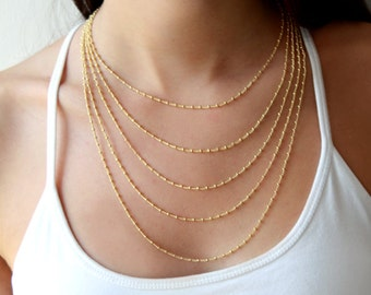 Multi layered chain necklace - layering jewelry - gold layered necklace - girlfriend gift - valentine gift