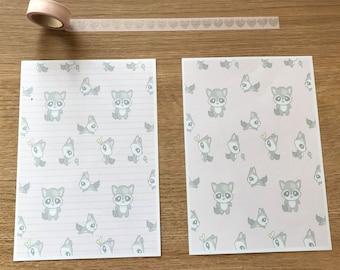 Trash Panda Racoon Snail Mail Pen Pal Writing Paper