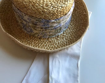 80s Straw Hat, Floral Ribbon, Laura Ashley, Mother and Child, Purple, Medium, Country, Shabby Chic, 80s Preppy, Kentucky Derby