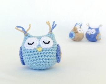 Baby boy's toy. Homemade amigurumi owl. Crochet soft animal toy.