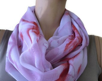 Pale pink and sunset burst floral tie-dye look chiffon Infinity scarf Circle scarf Loop scarf-Instant gratification