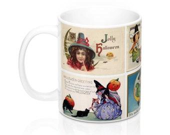Vintage Halloween Witch Postcards Graphic Coffee Mug 11 or 15 oz (#1)