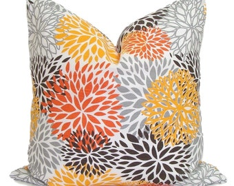 FLORAL PILLOWS.Pillow Cover, Floral Cushions, Orange Grey Cushion Covers, Orange Gray Cushion, Floral Pillow. Floral Cushion, 18x18 inch