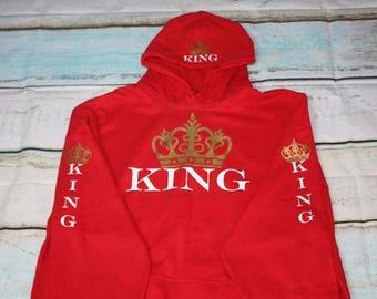 King Hoodie King Sweatshirt Crown King Pullover Hoodie Sleeves With King & Crowns King On The Hood King With Crown Hoodie Pullover Hoodie