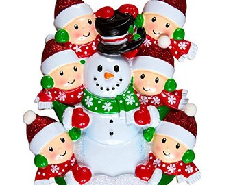Family Building Snowman Of 6 Personalized Christmas Tree Ornament