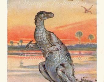 Antique print 1930s, Dinosaur, rare Antique, Mr Iguanodon of the Cretaceous Age, dinosaurs children art