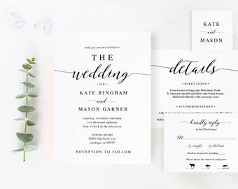 Wedding Invitation Template Etsy - Diy template wedding invitations