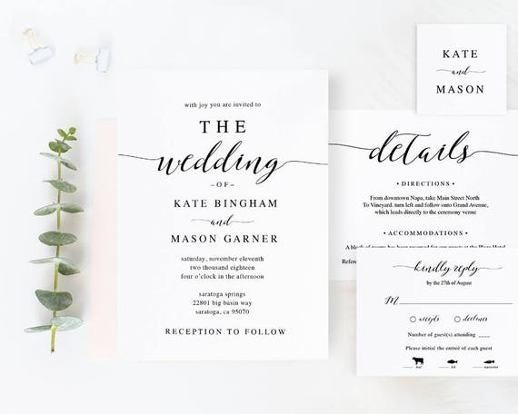 Printable wedding invitation template wedding invitation set printable wedding invitation template wedding invitation set diy wedding cards download modern calligraphy rustic wedding spp007iiwis stopboris Images