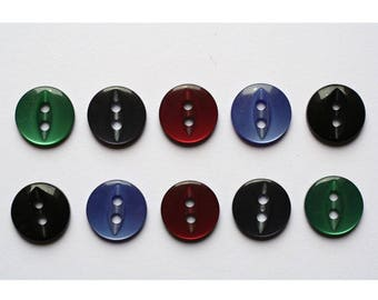 100 x 5 color dark 11mm - 000228 sewing buttons