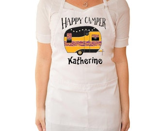 Happy Camper, Apron Personalized Your Choice of Camper Colors