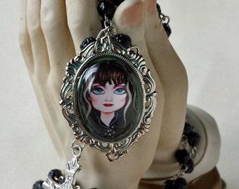 Big Eye Exene Rosary Black Rose Shaped Beads